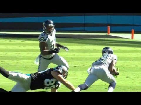 2014 – Seattle Seahawks defensive back Marcus Burley intercepts Carolina Panthers quarterback Cam N