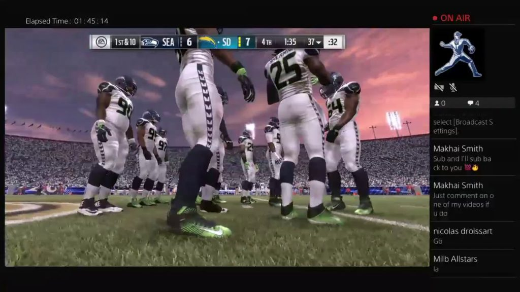 Madden 17-Seattle at LA Chargers PS Week 1