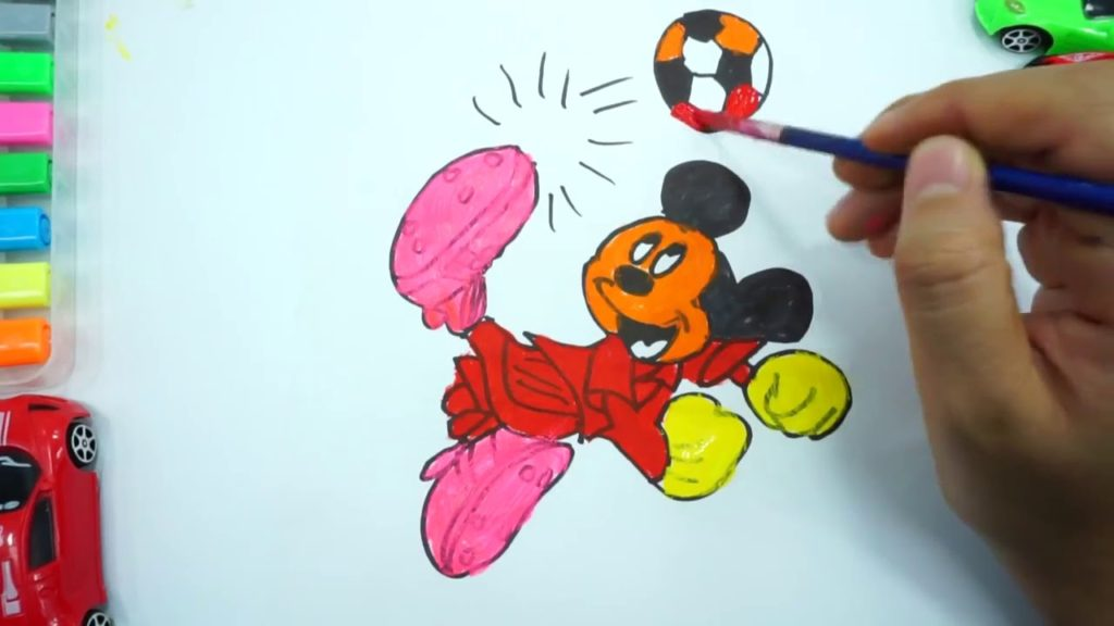 How to Draw and Colouring Mickey Mouse Play Football | Kids Painting Coloring Pages | Art