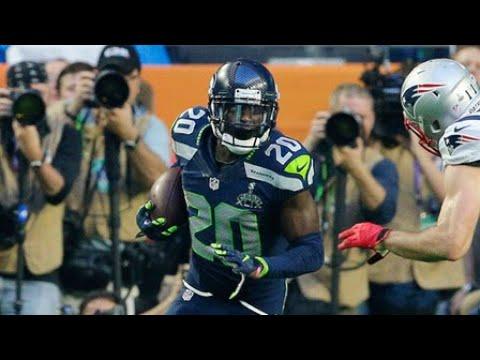 New England Patriots quarterback Tom Brady intercepted by Seattle Seahawks cornerback Jeremy Lane i