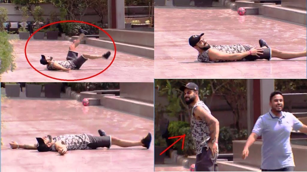 Virat Kohli Playing Football And Fell Down In Funny Way_D-Cricket
