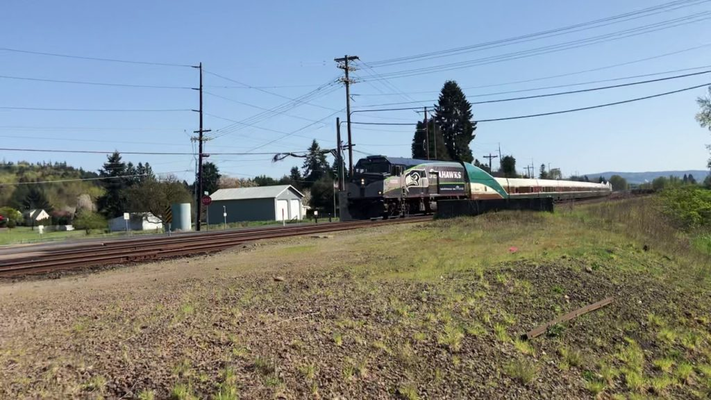 Seattle Seahawks Amtrak Cascades at crossing