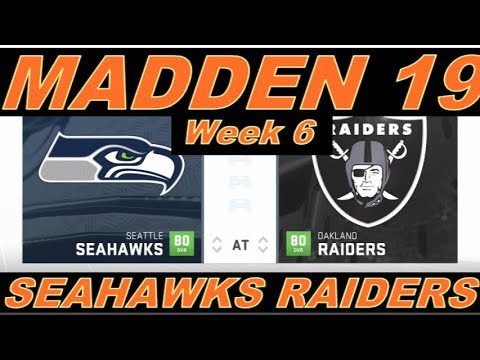 NFL Week 6 Seattle Seahawks @ Oakland Raiders Gameplay CPU vs CPU Madden 19