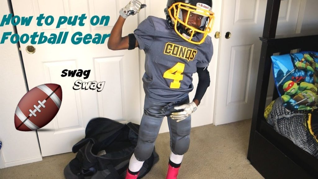 How to put on football gear // Football Swag // 8U // Breast Cancer Awareness Edition