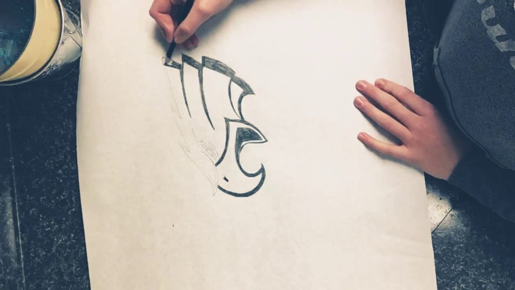Freehand Seattle Seahawks Logo Drawing