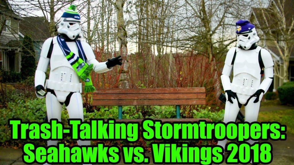 Stormtrooper Seahawks fan vs. stormtrooper Vikings fan 2018 (HashTag Wars)