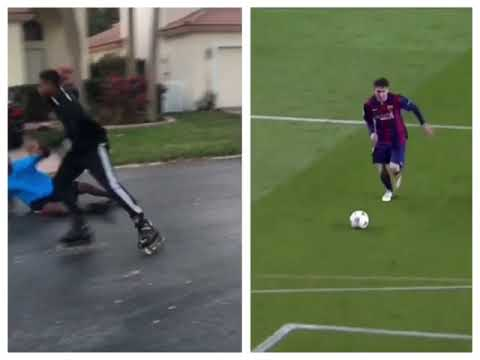 Lad plays football on roller blades