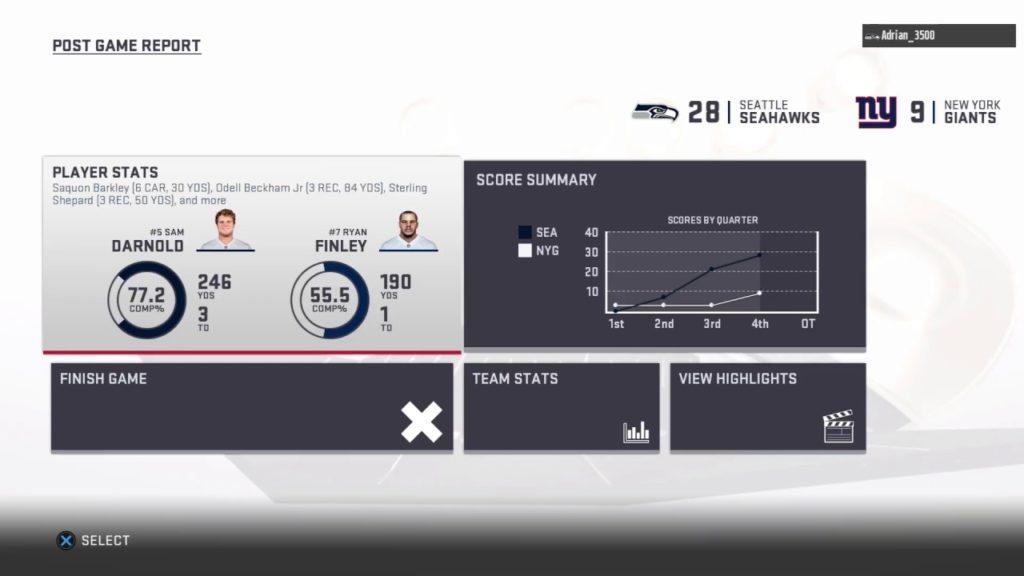 WEEK 16 vs seahawks