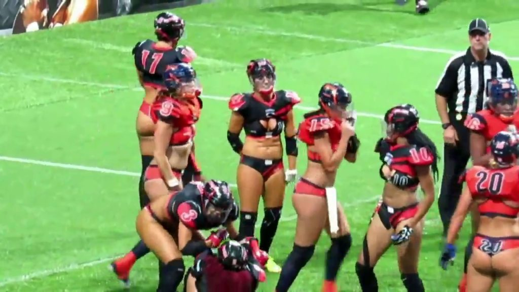 SEXY CHICKS IN THONGS PLAY FOOTBALL!