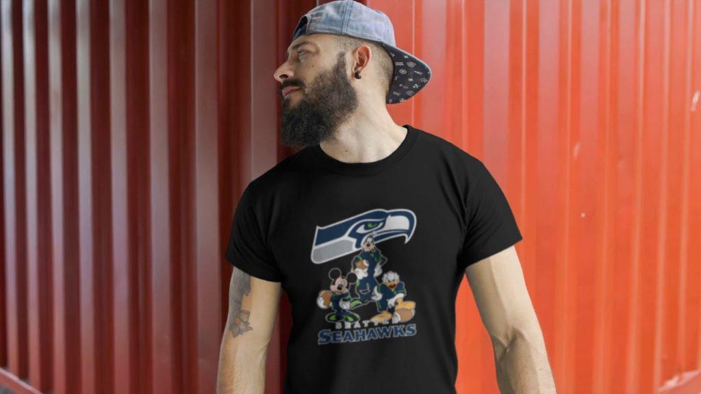 Mickey Donald Goofy The Three Seattle Seahawks Football Shirts