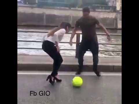 Look at This Girl Playing Football in street Perfectly Lady Rolando talent
