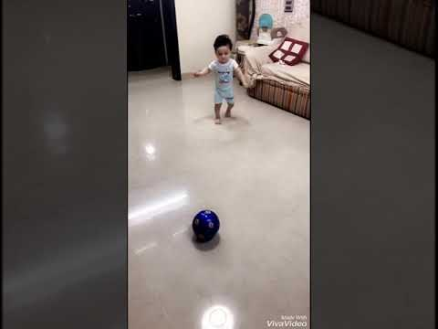 Training 12 month old Toddler to play football at home Stage 1