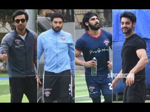 UNCUT- Ranbir Kapoor, Abhishek Bachchan, Ahan Shetty and Others Spotted Playing Football | SpotboyE