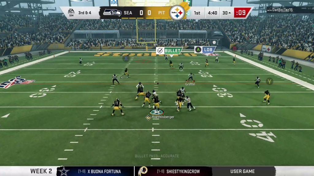 Walla League Madden 20 -Week 2 Seahawks @ Steelers