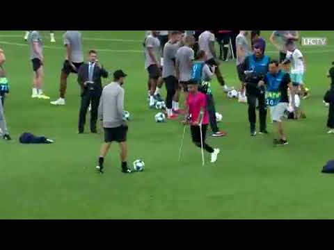 UEFA SUPER CUP Salah plays football with an amputee boy ahead of the UEFA Super Cup