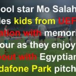 Salah plays football with amputee children