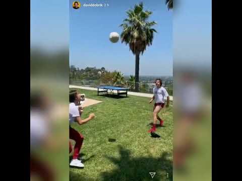 David Dobrik and Natalie Noel Playing Football