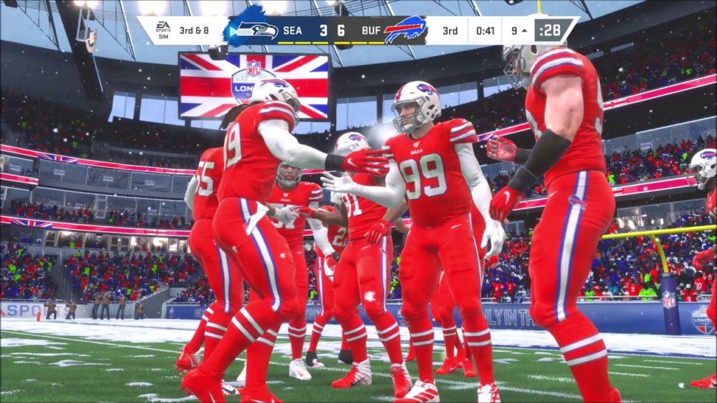 Madden NFL 20 Buffalo Bills Christian Wade vs Ziggy Ansah Seattle Seahawks NFL London Snow Ep 3