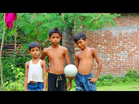 Play football kids in a sanowar village