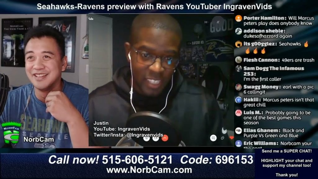 Seahawks-Ravens Preview with Ravens YouTuber IngravenVids (NorbCam Reacts)
