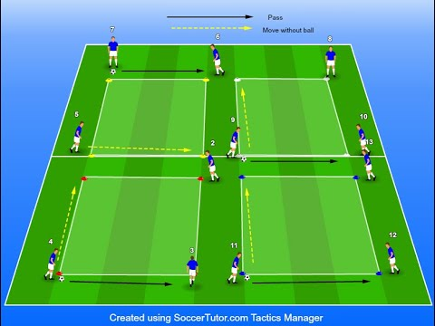 Football Rondo Training: Unopposed Warm-up session, 3v0