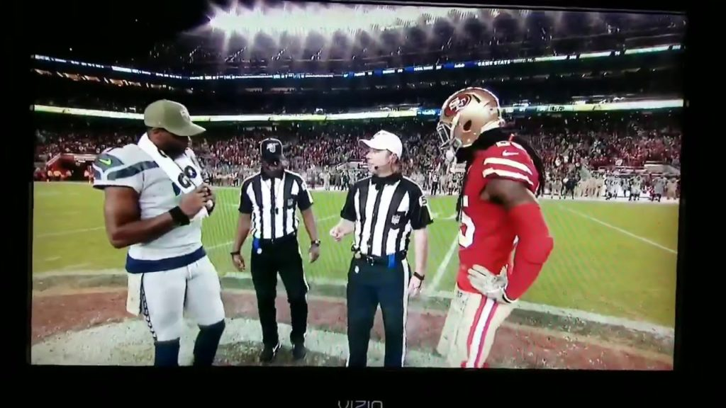 Seahawks vs 49ers Coin Toss – Calls Tails, wins flip with Heads
