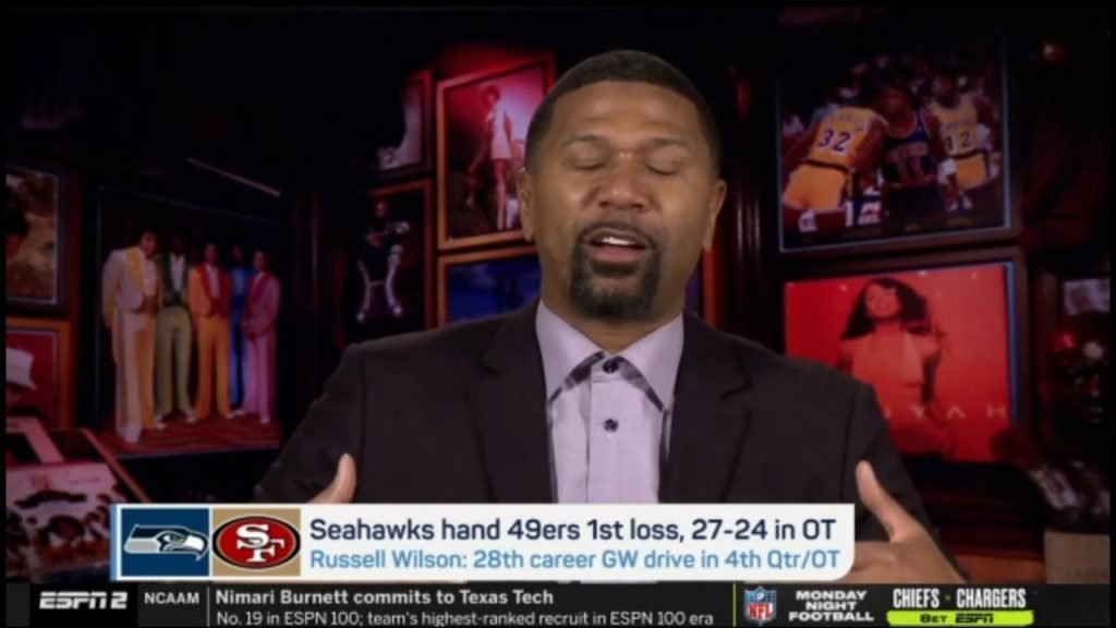 "Jalen Rose ""harsh"" Seahawks and 49ers 1st loss, 27-24 OT; Russell 28th career GW drive in 4th Qtr/OT"