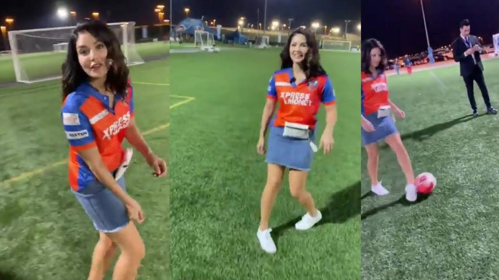 how to look beautiful girl sunny leone playing football