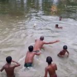 SWIM AND PLAY FOOTBALL IN POND
