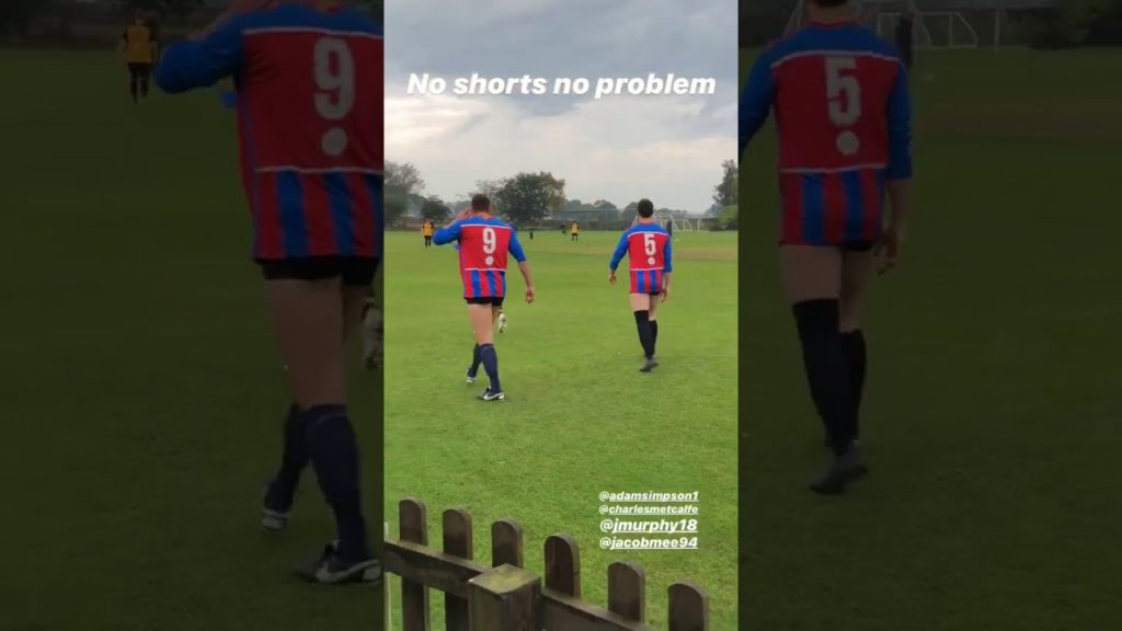 Village football team have to play in their pants their kit gets stuck in traffic