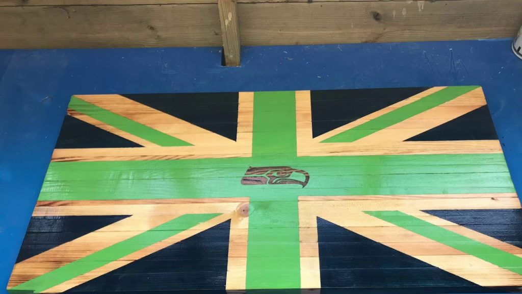 Seattle Seahawks Seajack Rustic Wooden Flag