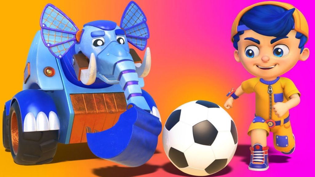 Jonny plays FOOTBALL with the Wrecking Ball LIZARD and the Excavator ELEPHANT!  – cartoons for kids